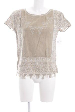 Maison Scotch T-Shirt sandbraun-wollweiß Ornamentenmuster Beach-Look