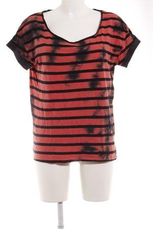 Maison Scotch T-Shirt schwarz-hellrot Streifenmuster Casual-Look