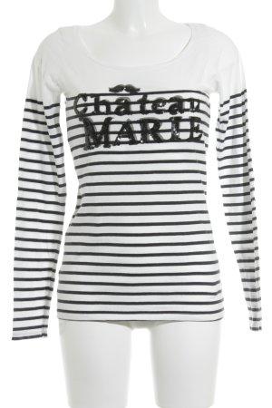 Maison Scotch T-Shirt schwarz-wollweiß Schriftzug gedruckt Casual-Look