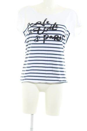 Maison Scotch T-Shirt weiß-dunkelblau Schriftzug gedruckt Casual-Look