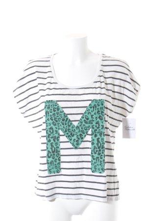 Maison Scotch T-Shirt weiß-schwarz Streifenmuster Casual-Look