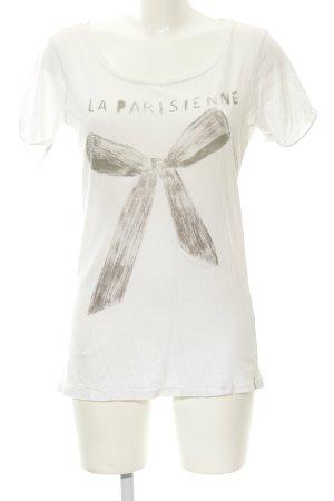 Maison Scotch T-Shirt wollweiß-grau Schriftzug gedruckt Casual-Look