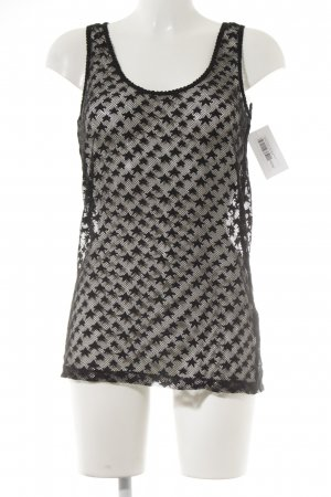 Maison Scotch Tanktop zwart Sterrenpatroon Net-look