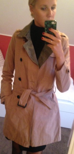 Maison Scotch Trenchcoat mit Hahnentritt-Revers
