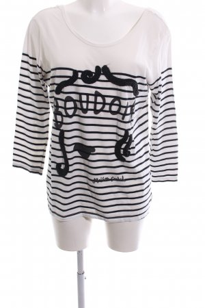 Maison Scotch Boatneck Shirt white-black themed print casual look
