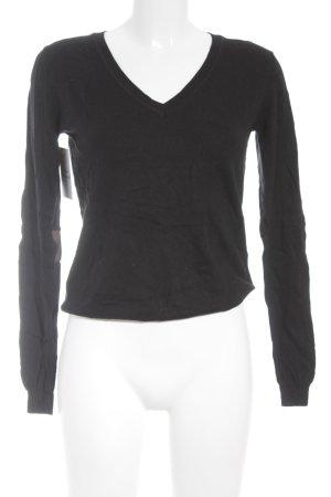 Maison Scotch V-Ausschnitt-Pullover schwarz schlichter Stil