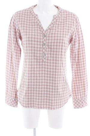 Maison Scotch Camisa con cuello V beige claro-rosa estampado de cuadros guinga