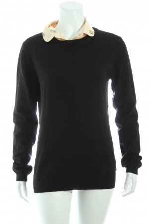 Maison Scotch Wollpullover schwarz-apricot florales Muster Brit-Look