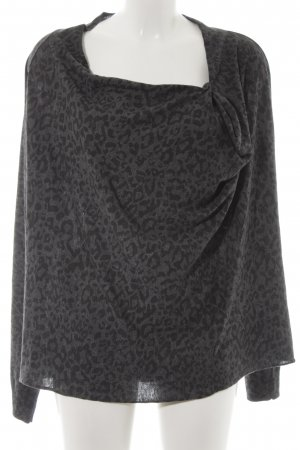 Maison Scotch Wollpullover schwarz-grau Animalmuster Animal-Look