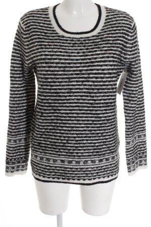 Maison Scotch Wollpullover schwarz-wollweiß Streifenmuster Casual-Look