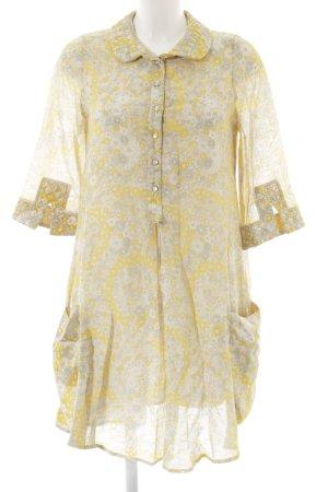 Maje A-Linien Kleid gelb-hellgrau florales Muster Elegant