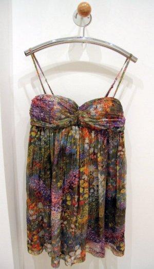 MAJE Babydoll Minikleid Blumen-Printe Millefleurs bunt Seide + Gold