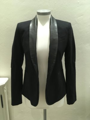 Maje Blazer schwarz blau dunkelblau Leder Wolle 38 M