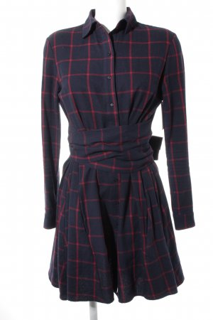 Maje Blouse Dress dark blue-carmine check pattern casual look