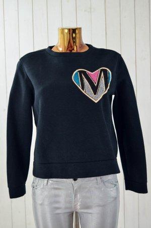 MAJE Damen Sweatshirt Schwarz Bunt Bestickt Herz Viskose Polyester Gr.2/38 Neu!