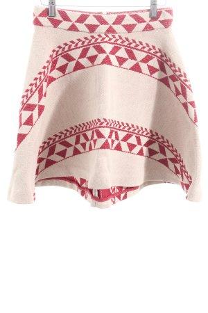 Maje Glockenrock beige-rot Ornamentenmuster Casual-Look