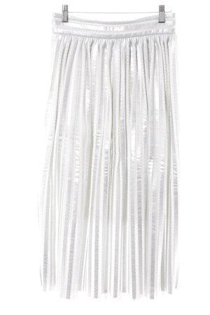 Maje Falda acampanada color plata-blanco estampado a rayas look efecto mojado