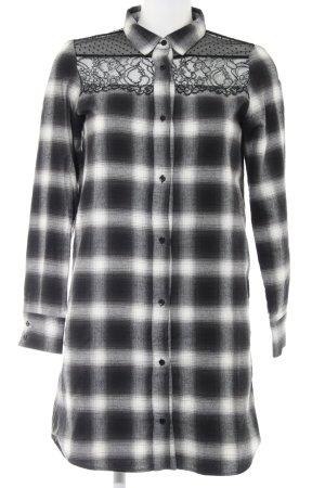 Maje Shirtwaist dress natural white-black check pattern casual look
