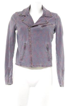 Maje Jeansjacke kornblumenblau-purpur Aztekenmuster Casual-Look