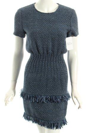 Maje Kleid dunkelblau-stahlblau Webmuster extravaganter Stil