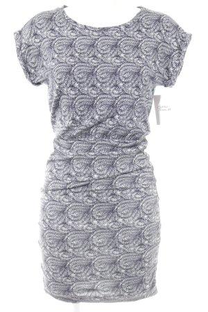 Maje Kurzarmkleid dunkelblau-weiß Ornamentenmuster Street-Fashion-Look