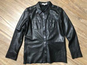 Maje Chemise en cuir noir cuir