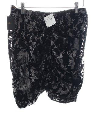 Maje Minirock silberfarben-schwarz abstraktes Muster Party-Look