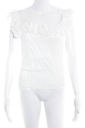 Maje Camisa de malla blanco puro estampado a lunares elegante