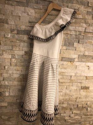 Maje One Shoulder Dress black-white