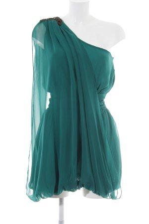 Maje One Shoulder Dress forest green-cadet blue elegant