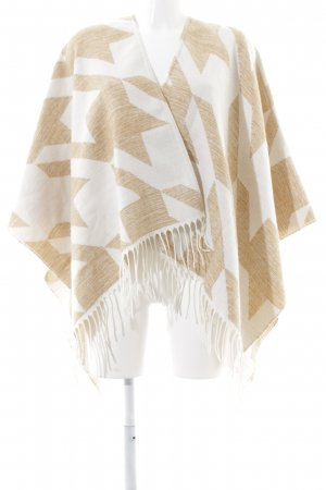 Maje Poncho wollweiß-beige Hahnentrittmuster Casual-Look