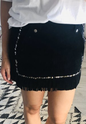Maje Leather Skirt black