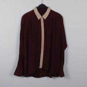 Maje Blusa ancha rosa-burdeos Seda