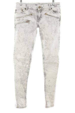 Maje Skinny Jeans hellgrau Used-Optik