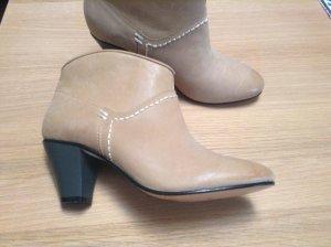 Maje Stiefeletten Ankle Boots beige Leder kaum getragen