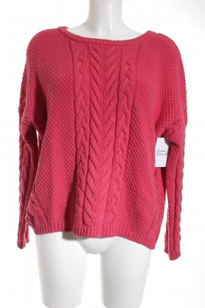 Maje Strickpullover magenta Zopfmuster Casual-Look