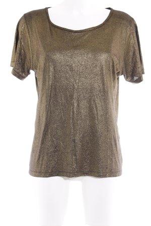 Maje T-Shirt goldfarben Glitzer-Optik
