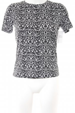Maje T-Shirt schwarz-hellgrau Leomuster Animal-Look