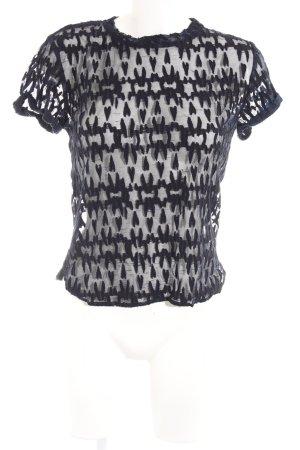 Maje Transparenz-Bluse dunkelblau-schwarz abstraktes Muster Party-Look