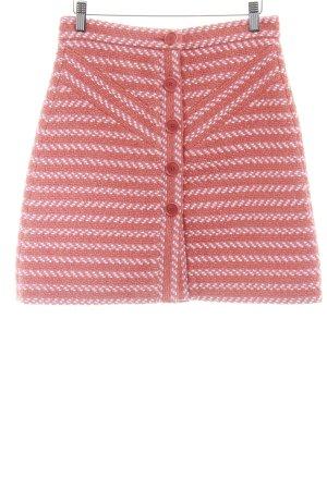 Maje Jupe en tweed orange foncé-rose chair motif rayé style décontracté
