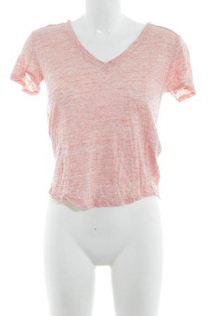 Maje T-shirt col en V abricot moucheté style décontracté