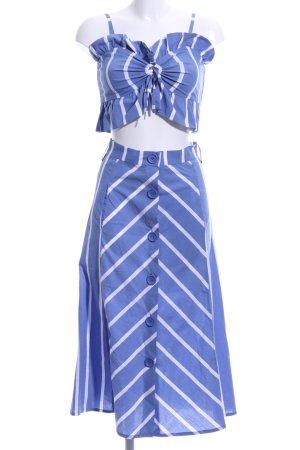 Maje Ensemble tissé bleu acier-blanc motif rayé style décontracté
