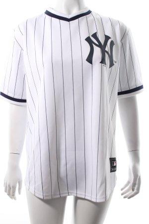 Majestic Sportshirt weiß-dunkelblau Schriftzug gedruckt Boyfriend-Look