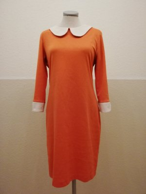 Makadamia Kleid retro Bubikragen orange weiß Gr. 40 42 M L langarm retrokleid Winterkleid