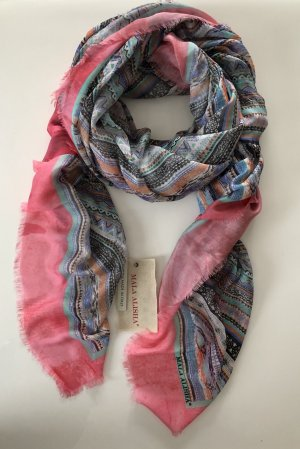 Mala Alisha Schal Tuch bunt rosa blau * NP €345 * NEU
