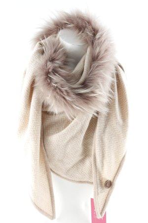 Mala Alisha Bufanda de lana nude-rosa empolvado estampado con diseño abstracto