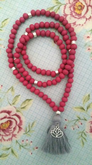 Pearl Necklace silver-colored-raspberry-red