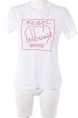 Malaika Raiss T-Shirt weiß-rot Schriftzug gedruckt Casual-Look