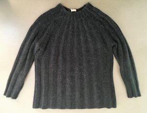 * MALO * STRICK PULLOVER 100 % WOLLE RIPPEN MUSTER schwarz grau