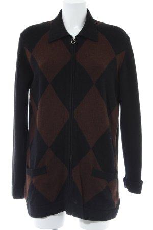 malo Veste en tricot noir-brun motif à carreaux style rétro